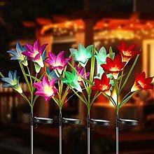 Joomer Solar Garden Lights, 4 Pack Solar Lily