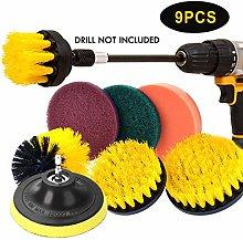 JOQINEER 9pcs Automotive Soft Yellow Drill Brush -