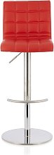 Jorden Bar Stool In Red Faux Leather And Stainless
