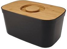 Joseph Joseph Black Bread Bin With Bamboo Lid
