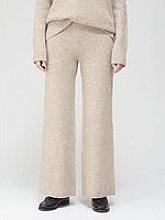 Joseph Tweed Knit Wide Leg Trousers - Beige