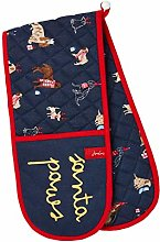 Joules Christmas Dogs Navy Double Oven Gloves