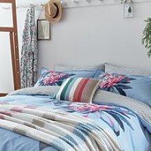 Joules Cornish Floral Duvet Cover Set, Pale Blue
