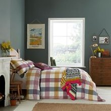 Joules Country Ramble Check Bedding, Plum