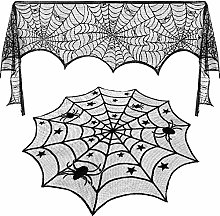 Jovitec Round Lace Table Topper Black Spider