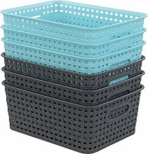 Joyeen Plastic Weave Rattan Storage Basket, Set of