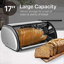 JoyFan Stainless Steel Silver Roll Top Bread