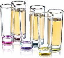 JoyJolt Hue Colored Shot Glass Set, 6 Piece Shot
