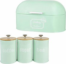 joyMerit Bread Box with 3 Pack Tea Tin Canisters