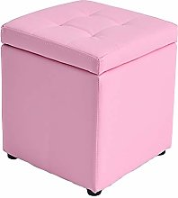 JPVGIA Leather Storage Stool With Lid Ottoman