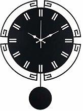 JPVGIA Pendulum Wall Clock Retro Black Mechanical