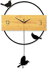 JPVGIA Pendulum Wall Clock Solid Wood Silent &