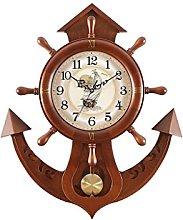 JPVGIA Rudder Mute Clock Solid Wood Clock Modern