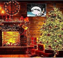 JRLTYU DIY Digital Painting Fireplace Christmas