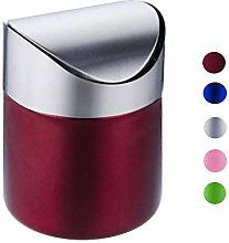 JRMU Mini Tabletop Trash Can With Lid, Brushed