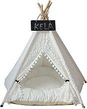 JSJJAUJ pet bed Lace Pet Tent Dog House Washable