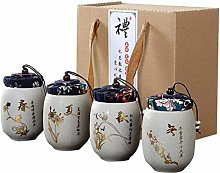 Jsmhh 4pcs/Pack Ceramics Small Tea Canister Set