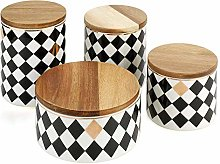 Jsmhh Ceramic Canister Set with Bamboo Lid Perfect