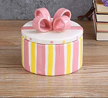 Jsmhh Cute Ceramic Jewelry Box Candy Canister Bow