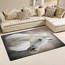 JSTEL INGBAGS Super Soft Modern White Horse Area