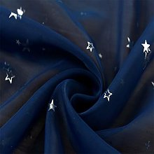JUANstore Silver Metallic Look Stars Sheer Curtain
