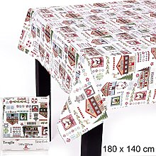 JUINSA Cotton Christmas Tablecloth, 180 x 140 cm,