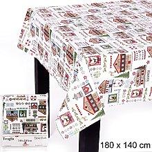 JUINSA Cotton Christmas Tablecloth, 180 x 140 cm,