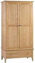 Julian Bowen Costwold 2 Door 1 Drawer Wardrobe, Oak