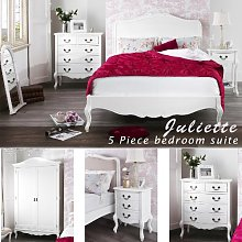 Juliette Shabby Chic White King bed 5pc bedroom