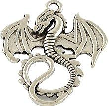 Julz Beads 10 Dragon Charms Antique Silver Tone