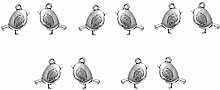 Julz Beads 10 Robin Charms - Antique Silver - 21mm