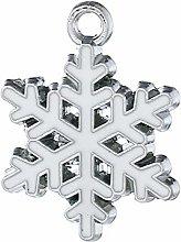 Julz Beads 10 White Christmas Snowflake Enameled