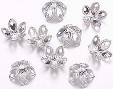 Julz Beads 20 Flower Bead Caps - Antique Silver -