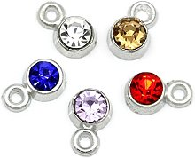 Julz Beads 20 Rhinestone Mixed Coloured Charms -