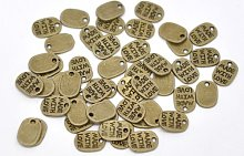 Julz Beads 40 'Made With Love' Charms Tags