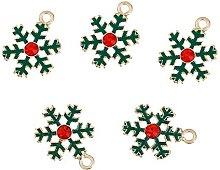 Julz Beads 5 Green Christmas Snowflake Enameled