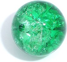 Julz Beads 50 Green Glass Crackle Beads 10mm