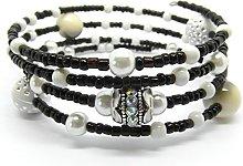 Julz Beads Monochrome Memory Wire Bracelet