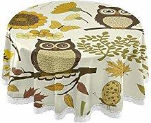 JUMBEAR Fruit Round Tablecloth Polyester Circular