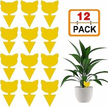 Junean 12 Pack Sticky Fruit Fly Fungus Gnat Traps