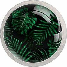 Jungle Green Leaves PlantRound Glass knob White