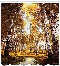 Jungle Shower Curtain Birch Forest in Autumn