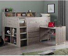 Jupiter Grey Oak Wooden Mid Sleeper Cabin Bed