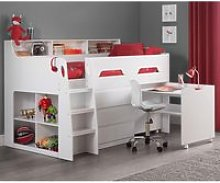 Jupiter White Wooden Mid Sleeper Cabin Bed Frame -