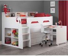 Jupiter White Wooden Mid Sleeper Cabin Bed Frame -