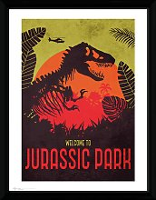 Jurassic Park Silhouette Framed Print Wall Art