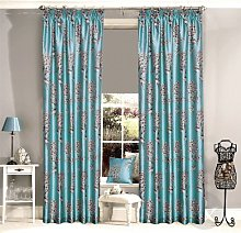 Just Contempo Floral Pencil Pleat Lined Curtains,