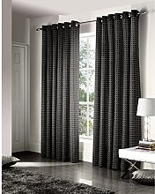 Just Contempo Geometric Eyelet Lined Curtains,