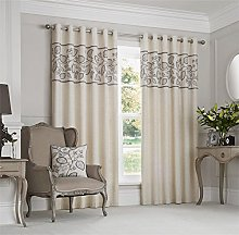 Just Contempo Leaf Eyelet Lined Curtains and