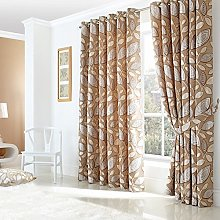Just Contempo Leaf Eyelet Lined Curtains, Cream,